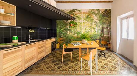 Le thème végétal domine la décoration de cet appartement de Barcelone