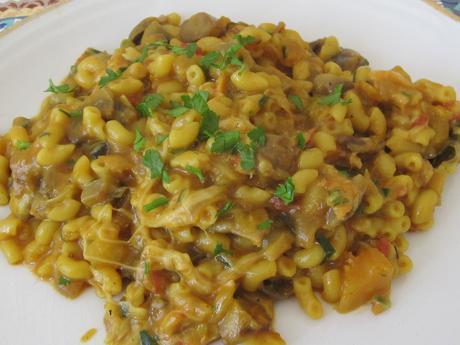 """Coquillettes façon """"one pasta""""courge/champignons/saumon fumé"""