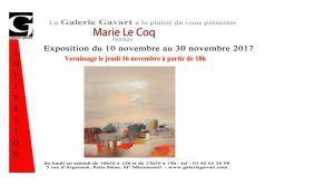Galerie GAVART  exposition  MARIE LE COQ  – 10 Novembre au 30 Novembre 2017