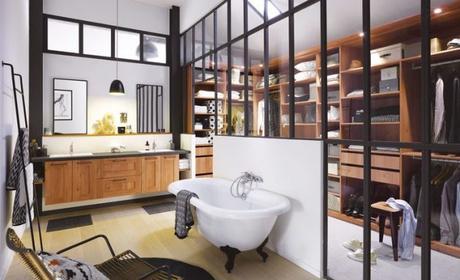salle de bain avec verriere dressing