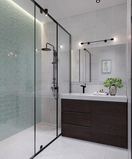 Salle de bain avec verriere : une salle de bain atelier