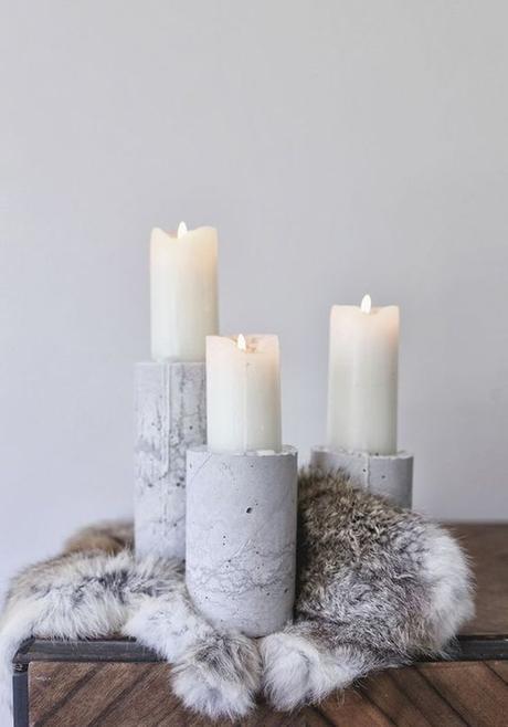 mariage theme hiver bougies bougeoir bois