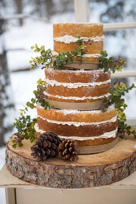 mariage theme hiver wedding cake bois