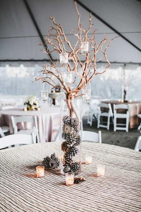 mariage theme hiver table rustique