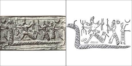 Dieu Marduk tuant Tiamat, sceau-cylindre néo-assyrien, 900-750 av. J.-C.002