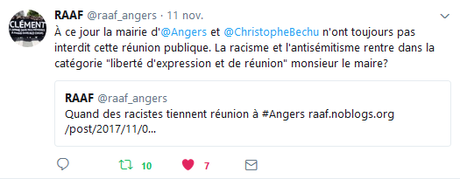 Quand la mairie d'@Angers et @ChristopheBechu accueillent un fasciste à bras ouverts