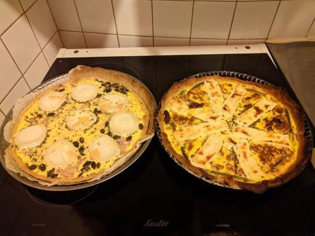 Mes deux belles quiches: chèvre/lardon/graine de courge et tomate séchée/asperge/feta/pignon