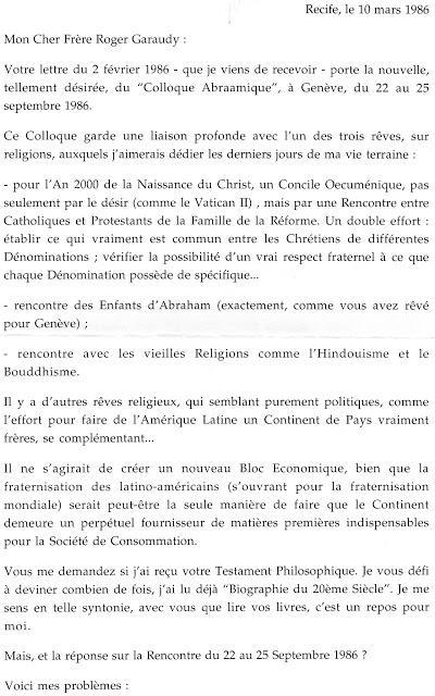 Helder Camara écrit à Roger Garaudy (3) - 1986