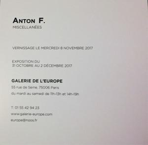 Galerie de l'Europe   exposition ANTON F.  « Miscellanées » jusqu'au 2 Décembre 2017