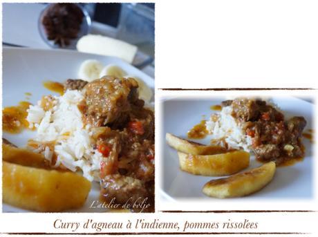 Curry d'agneau à l'indienne, pommes rissolées