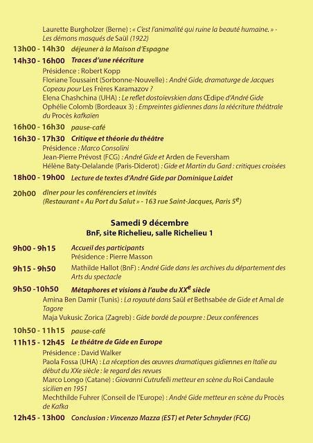 Colloque André Gide et le théâtre