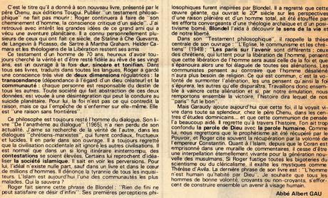 Abbé Albert Gau: Testament philosophique Roger Garaudy