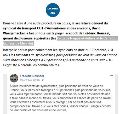 un patron #Carrefour propose d'envoyer tous les syndicalistes dans des chambres à gaz #antifa