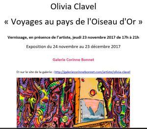Galerie Corinne BONNET  exposition Olivia Clavel « Voyages au pays de l'Oiseau d'Or »  24/11 au 23 /12/ 2017