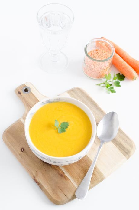 Soupe de carottes et lentilles corail au lait de coco