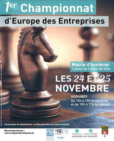 L'affiche officielle du 1er Championnat d'Europe d'Echecs des Entreprises