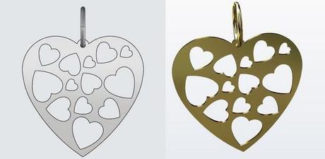 dessin cao d'une pendentif coeur en or 18 carats