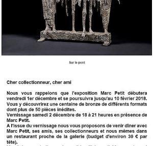 Galerie Schwab Beaubourg    exposition MARC PETIT            1er/12/17 au 10/O2/18