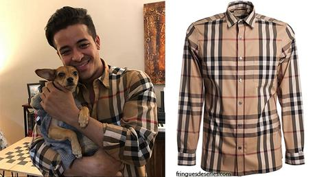 STYLE  : Christian Navarro in Burberry shirt for Thanksgiving