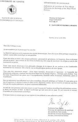 1996: La lettre de soutien de Jean Ziegler