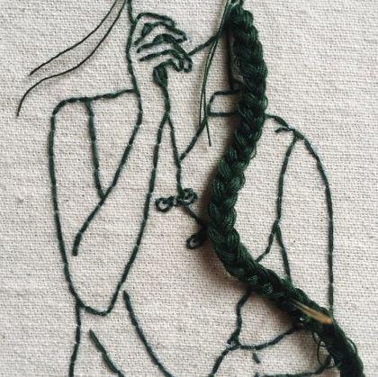 Broderie et cheveux par Sheena Liam