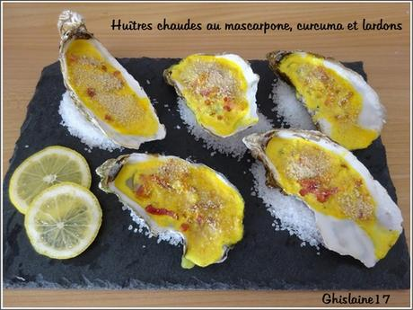 Huîtres chaudes au mascarpone, curcuma et lardons
