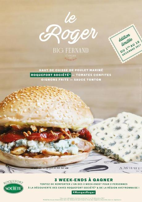 «Le Roger» : hamburgé au Roquefort Société débarque chez Big Fernand !