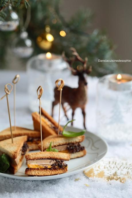 Club au foie gras de canard, mangue et piment d'Espelette