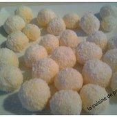 Truffes chocolat blanc noix de coco au thermomix ou sans - La cuisine de poupoule
