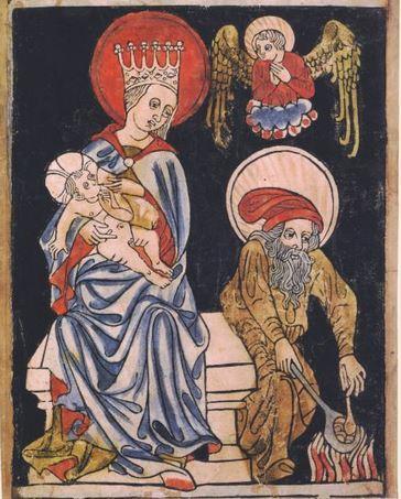 sainte Famille Xylographie Bohemian or Moravian, c. 1410.