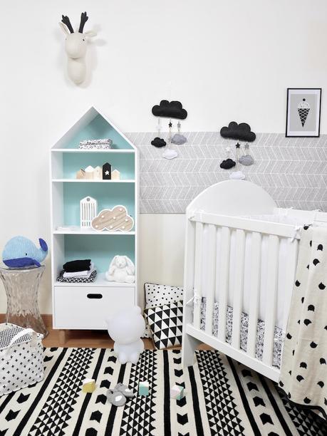 déco chambre bébé en noire et blanche