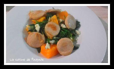 Boudin blanc potimarron rôtri, épinards et gorgonzola