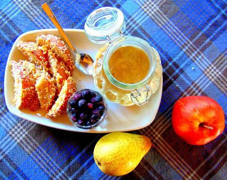 Frites de poires au panko avec trempette érable tahini