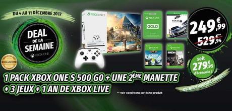 Bon Plan –  Console Xbox One S + 4 jeux + 2ème manette + un an de Gold à 249.99€