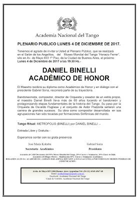 Honneur à Daniel Binelli pour l'avant-dernier Plenario [à l'affiche]