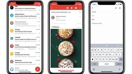 Gmail aux dimensions de l'écran iPhone X