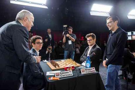 Garry Kasparov et Demis Hassabis au London Chess Classic de Londres - Photo © Maria Emelianova/Chess.com