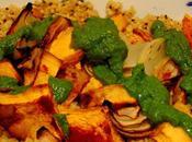 Courge four avec quinoa sauce coriandre