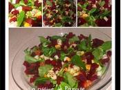 Salade mâche, bettrave, poulet vinaigre cidre