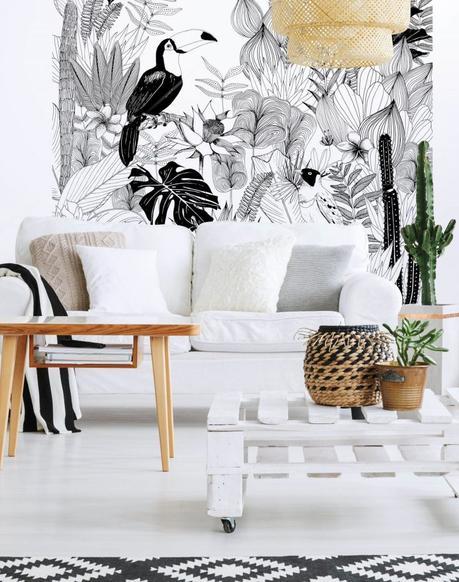 fresque murale jungle salon papier peint magnétique