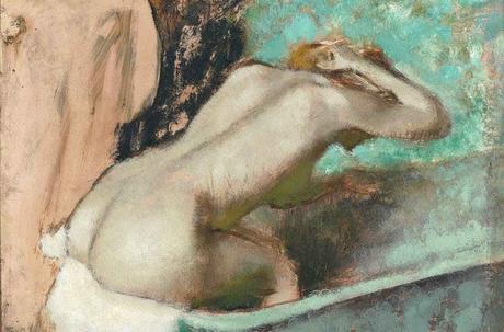 Degas - Femme assise sur le rebord d' une baignoire et s'épongeant la nuque, vers 1880.