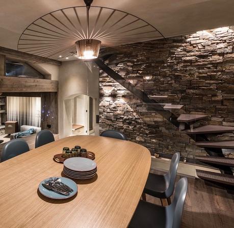 chalet design style montagne salle a manger lampe vertigo