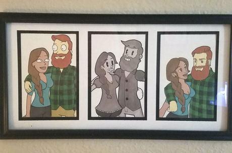 Il dessine son couple dans le style de dessins animés populaires