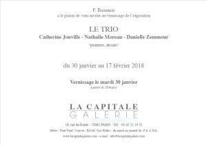 Prochainement GALERIE LA CAPITALE  30 Janvier au 17 Février 2018
