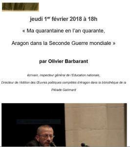 Maison ARAGON-TRIOLET  Conférence d'Olivier Barbarant à Paris le 1er Février 2018