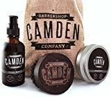 Camden Barbershop Company: Ensemble cadeau pour hommes, kit / coffret d'entretien et de soin pour barbe deluxe, comprenant brosse pour barbe en bois de noyer, huile et baume pour barbe