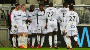 La joie des Strasbourgeois après leur victoire 3 buts à 0 à Bordeaux. Une victoire qui plonge les girondins dans la crise.