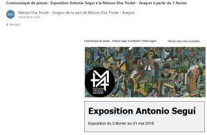 Maison Elsa TRIOLET-ARAGON  exposition Antonio SEGUI  03 Février au 21 Mai 2018