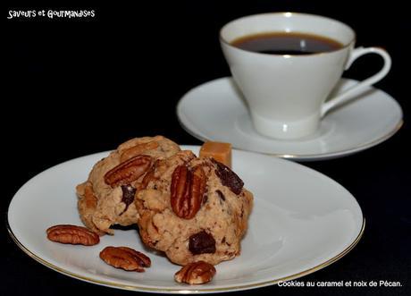 Cookies moelleux aux noix de Pécan et au caramel.