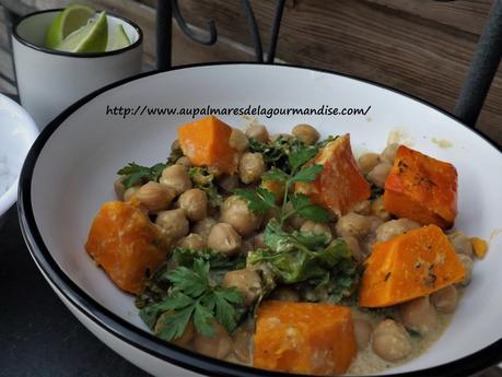 Curry de pois chiches,lait de coco,choux kale,Vegan & sans gluten,IG Bas,recette indienne,Healthy